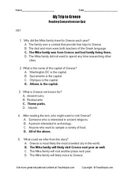 Benchmark Advance Reading Comprehension Quiz 3rd Grade.  My Trip to Greece.