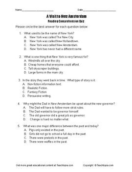 Benchmark Advance Reading Comprehension Quiz 3rd Grade. Visit to New Amsterdam