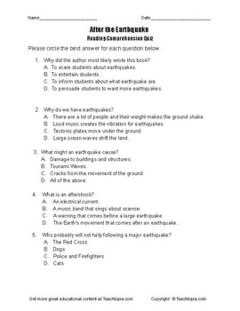 Benchmark Advance Reading Comprehension Quiz 4th Grade.  After the Earthquake.