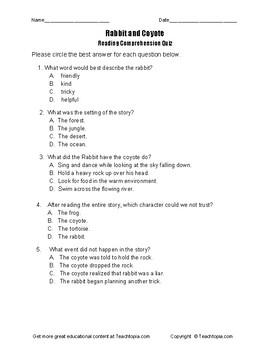 Benchmark Advance Reading Comprehension Quiz 4th Grade.  Rabbit and Coyote
