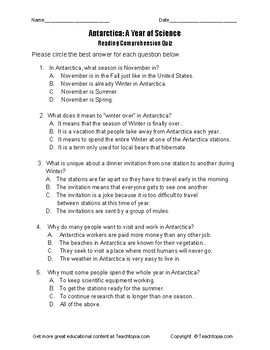 Benchmark Advance Reading Comprehension Quiz 5th Gr. Antarctica Year of Science