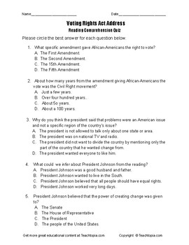 Benchmark Advance Reading Comprehension Quiz 5th Grade. The Voting Rights Act