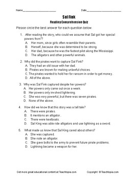 "Benchmark Advance Reading Comprehension Quiz 5th Grade. ""Sal Fink"" Tall Tales"