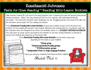 Benchmark Advance Reading Mini-Lesson Skills Booklets *Grade 4, Units 5 & 6