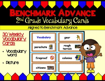 Benchmark Advance Second (2nd) Grade Vocabulary Cards Units 1 - 10