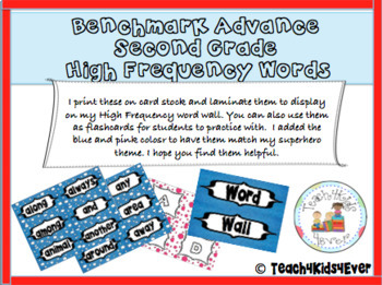 Benchmark Advance Second Grade High Frequency Words
