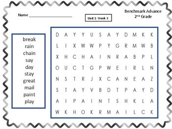 Benchmark Advance- Second Grade Spelling Word Find