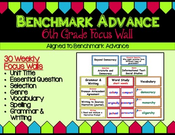 Benchmark Advance Sixth Grade Focus Wall - Units 1 - 10 (B.A. Companion)