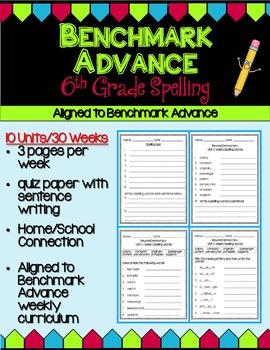 Benchmark Advance Sixth Grade Spelling Activities - Units 1-10 (B.A. Companion)