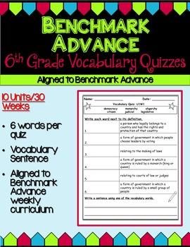 Benchmark Advance Sixth Grade Vocabulary Quizzes - Units 1-10 (B.A. Companion)
