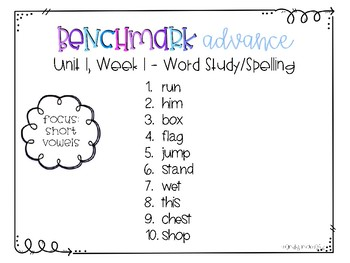 Benchmark Advance Spelling Grade 2 Unit 1