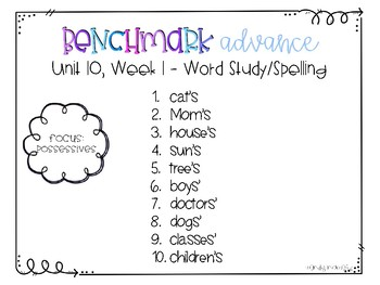 Benchmark Advance Spelling Grade 2 Unit 10
