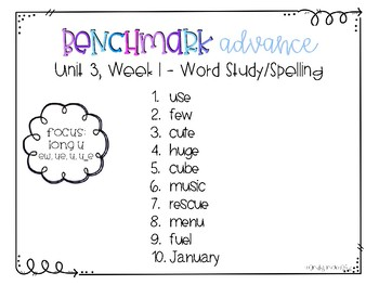 Benchmark Advance Spelling Grade 2 Unit 3