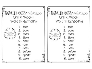 Benchmark Advance Spelling Grade 2 Unit 4