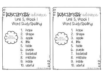 Benchmark Advance Spelling Grade 2 Unit 5