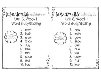 Benchmark Advance Spelling Grade 2 Unit 6