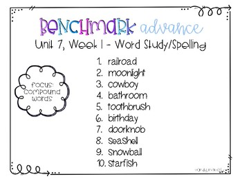 Benchmark Advance Spelling Grade 2 Unit 7