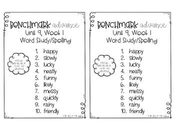 Benchmark Advance Spelling Grade 2 Unit 9