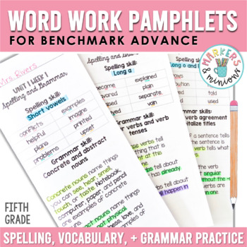 Benchmark Advance Spelling & Grammar Pamphlets for Fifth (5th) Grade Units 1-10