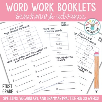 Benchmark Advance Spelling & Grammar Pamphlets for First (1st) Grade Units 1-10