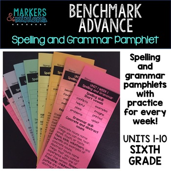 Benchmark Advance Spelling & Grammar Pamphlets for Sixth (6th) Grade Units 1-10