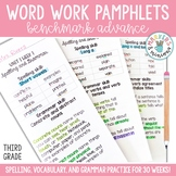 Benchmark Advance Spelling & Grammar Pamphlets for Third (3rd) Grade Units 1-10