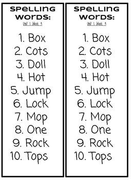 Benchmark Advance Spelling List Units1-10 First Grade