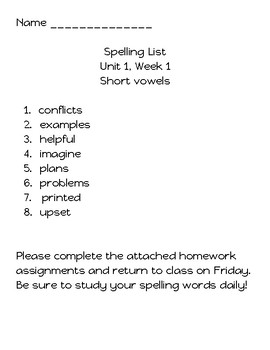 Benchmark Advance Spelling Packet