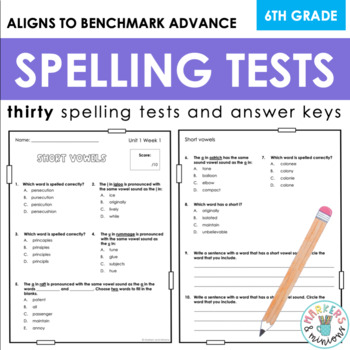 Benchmark Advance Spelling Tests (Sixth Grade)