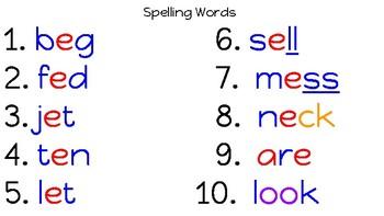 Benchmark Advance Spelling Words (1st grade)