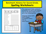 Benchmark Advance Spelling Worksheets, Second Grade, Units 1-10