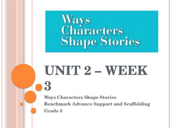 Benchmark Advance Supports for Unit 2 Week 3 - Ways Characters Shape Stories