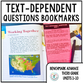 Text-Dependent Questions Bookmarks 3rd Grade (Benchmark Advance Units 1-10)