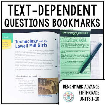 Benchmark Advance Text-Dependent Questions Bookmarks 5th Grade Units 1-10 BUNDLE