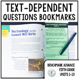 Text-Dependent Questions Bookmarks 5th Grade (Benchmark Advance Units 1-10)