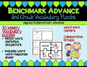 Benchmark Advance Third Grade Vocabulary Puzzles Units 1 - 10 (B.A. Companion)
