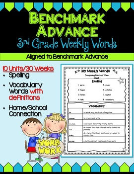Benchmark Advance Third Grade Weekly Word Lists w/Vocab Definitions BACompanion