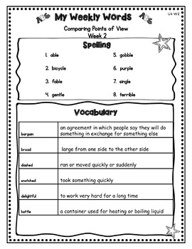 Benchmark Advance Third Grade Weekly Word Lists w/Vocab ...