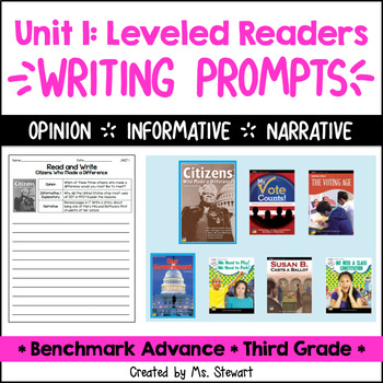 Benchmark Advance - Third Grade - Unit 1, Leveled Readers Writing Prompts