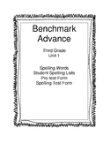 Benchmark Advance Third Grade Unit 1 Spelling Lists