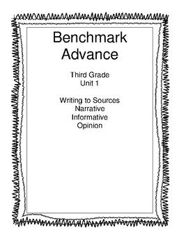 Benchmark Advance Third Grade Unit 1 Weekly Write