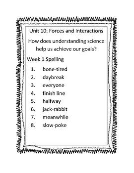 Benchmark Advance Third Grade Unit 10 Spelling Lists