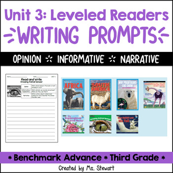 Benchmark Advance - Third Grade - Unit 3, Leveled Readers Writing Prompts