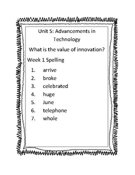 Benchmark Advance Third Grade Unit 5 Spelling Lists
