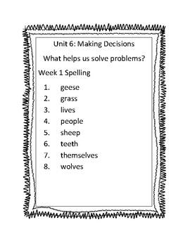 Benchmark Advance Third Grade Unit 6 Spelling Lists