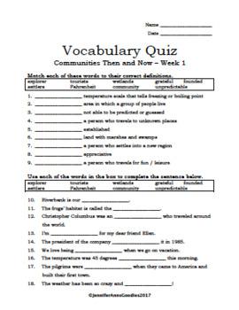 Benchmark Advance Unit 7 Vocab. Quizzes