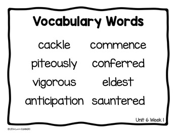 Benchmark Advance 3rd Grade Vocabulary Word, Picture & Definition Cards Unit 6