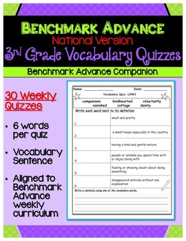 Benchmark Advance Third Grade Weekly Vocabulary Quizzes (National)