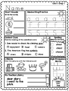 Benchmark Advance Unit 1 Second Grade Morning Work