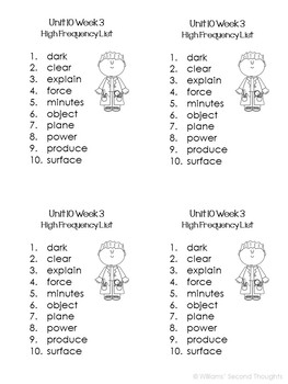 Benchmark Advance-Unit 10 Word Lists (Grade 2)